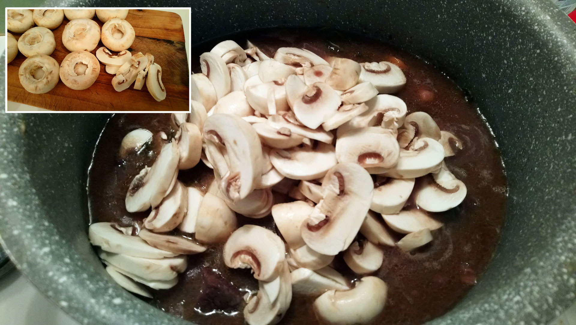 Chop the mushrooms and add them to the pot.